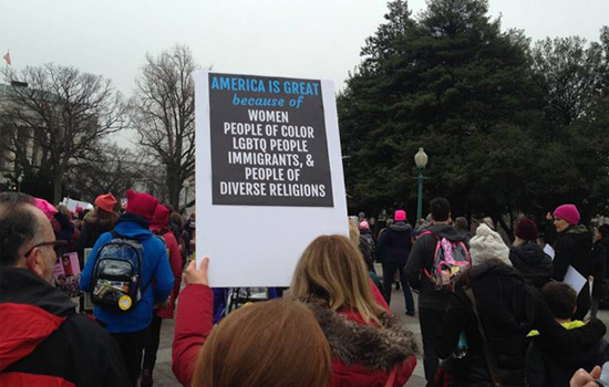 "Women's March on Washington ""America is great"" sign"