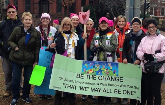 Women's March on Washington, group of United Church of Christ clergy with Rev. Nanette Pitt